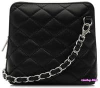 Handbag Bliss Italian Leather Quilted Cross Body Crossover Shoulder Bag